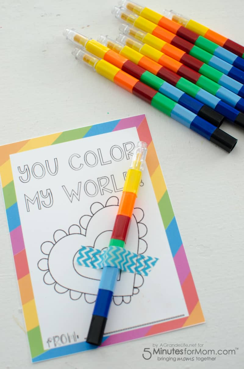 Color My World Valentines for Kids - Free Printable Valentines Day Cards #valentinesdaycards