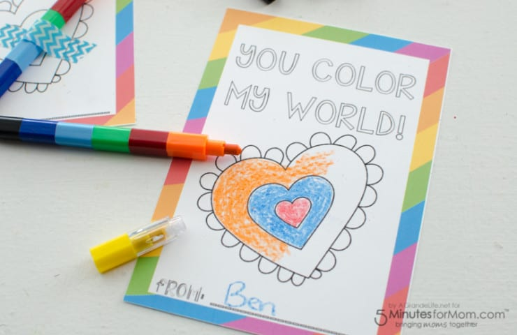 """""""You Color My World"""" Free Printable Valentines"""