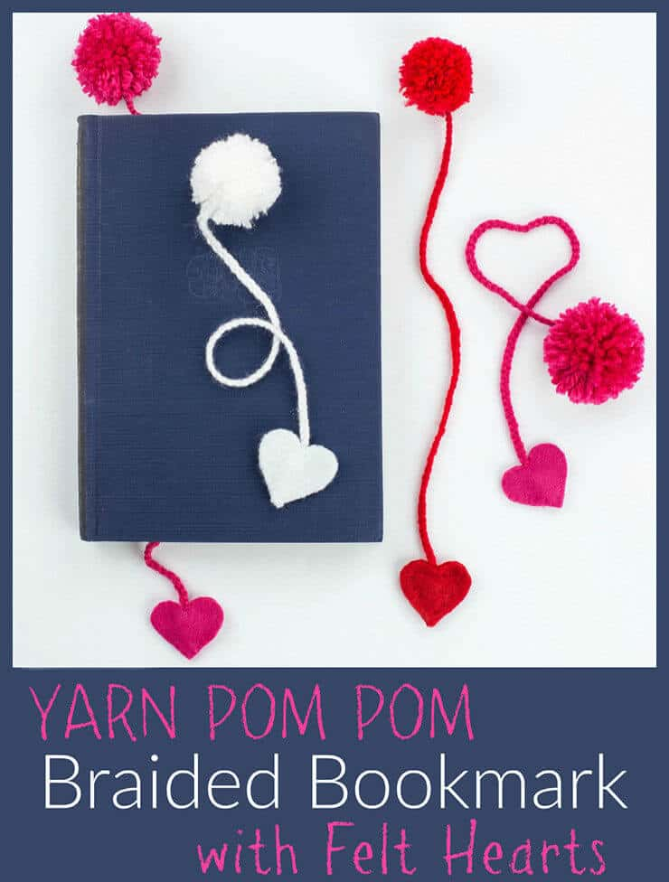 DIY Yarn Pom Pom Braided Bookmark