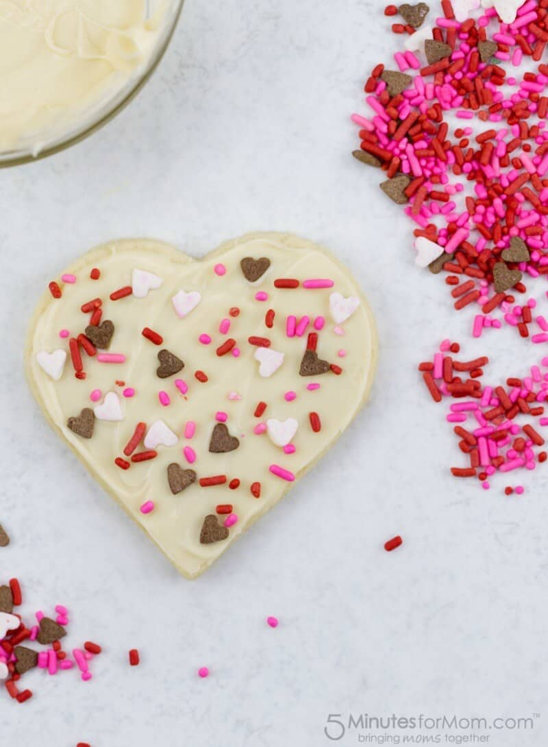 Valentines White Chocolate Topped Sugar Cookies