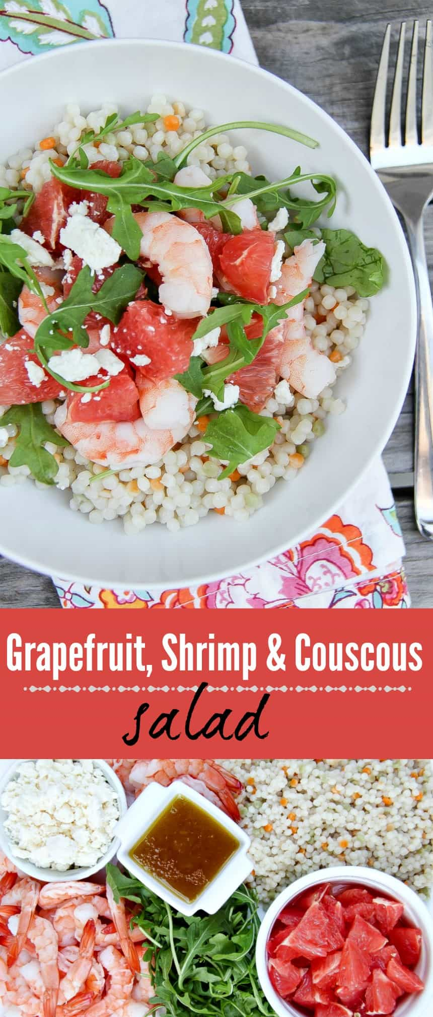 A light and tasty grapefruit, shrimp and couscous salad.