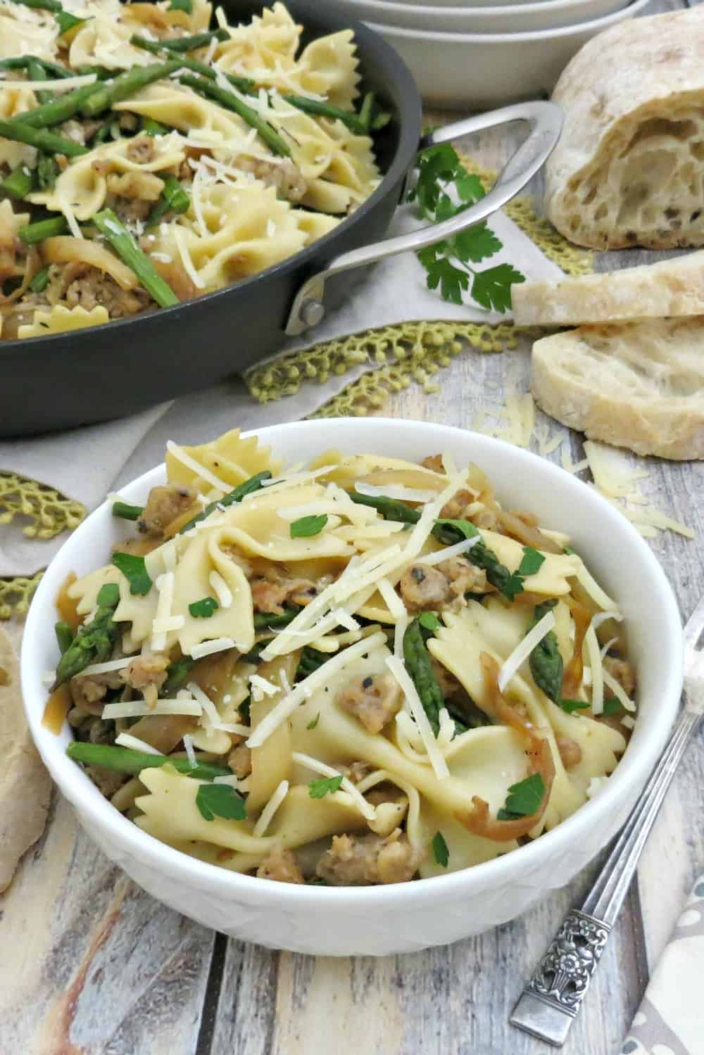 Bowtie Pasta with Chicken Italian Sausage Asparagus Caramelized Onions