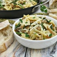 Bowtie Pasta with Chicken Italian Sausage, Asparagus & Caramelized Onions #Recipe