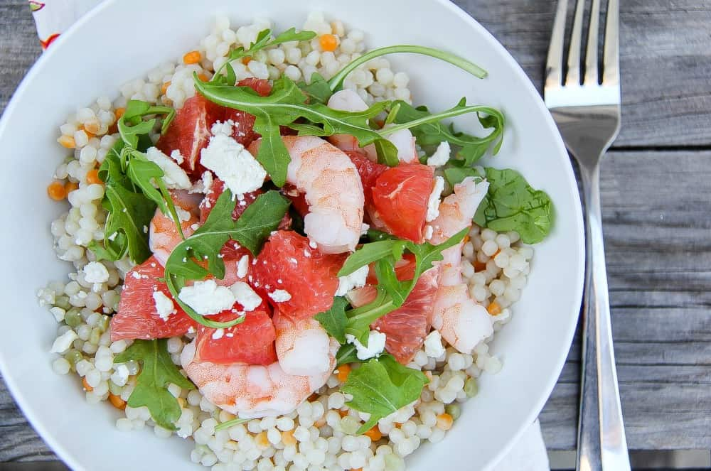 Grapefruit, Shrimp and Couscous Salad Recipe with Honey lime dressing