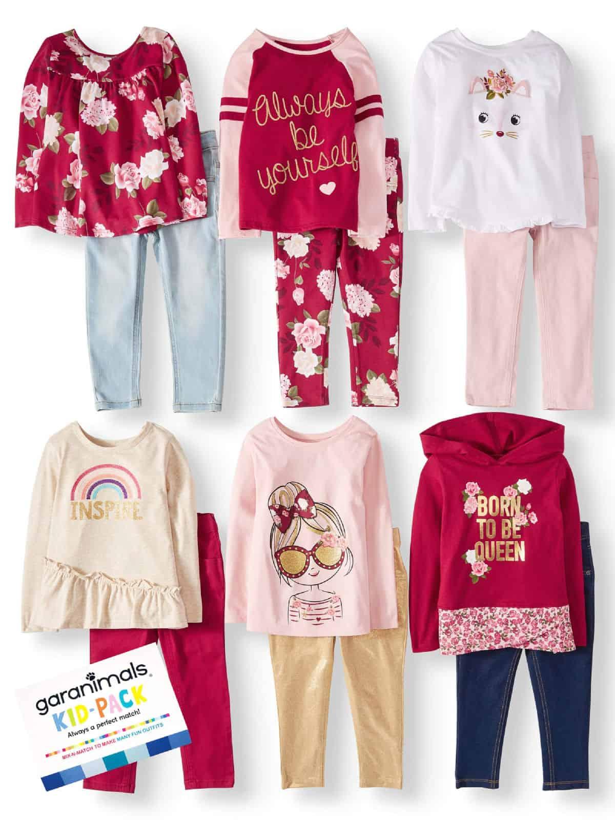 Garanimals mix and match clothes girls set of red