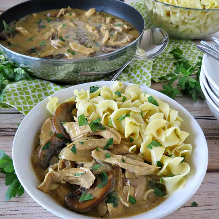 30 Minute Chicken and Mushroom Stroganoff - This stroganoff recipe comes together in about 30 minutes, but it tastes like it's been cooking all day!