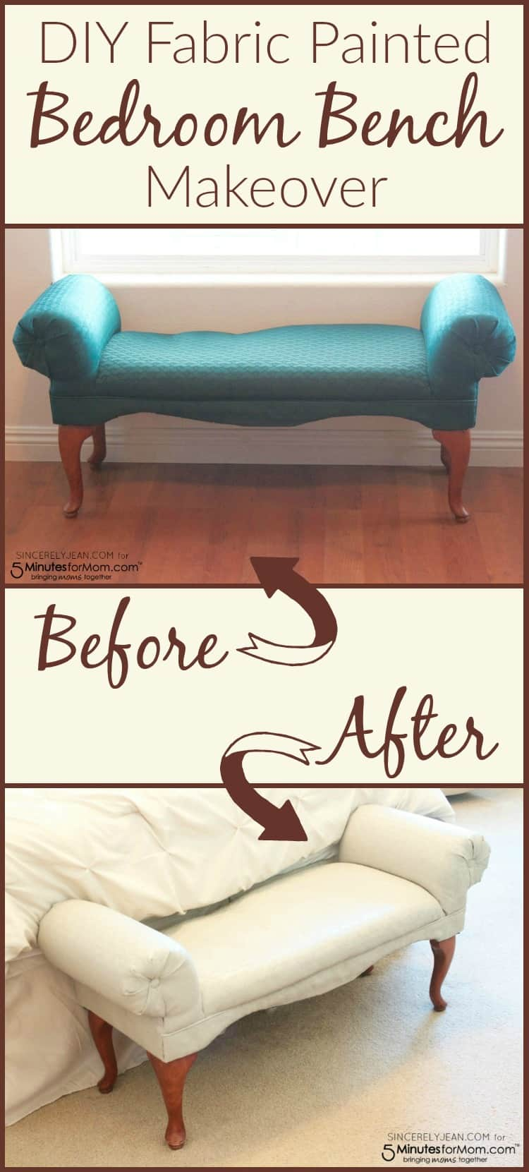 DIY Fabric Painted Bedroom Bench Makeover