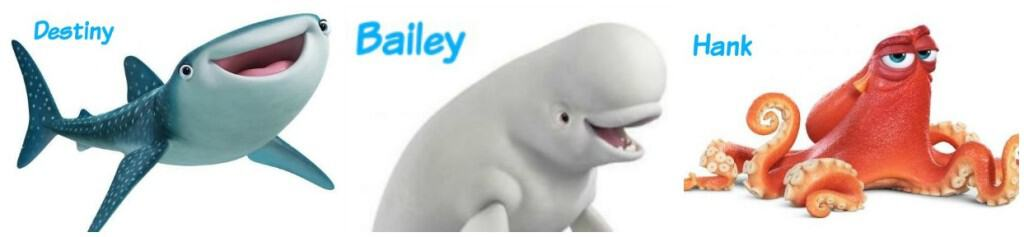 Finding Dory Character - Destiny, Bailey, Hank