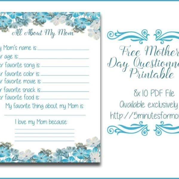 All About My Mom Questionnaire – Free Printable for Mother's Day