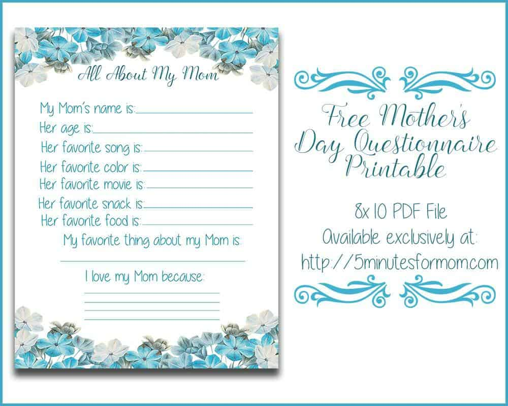 Charming Free Mothers Day Questionnaire Printable