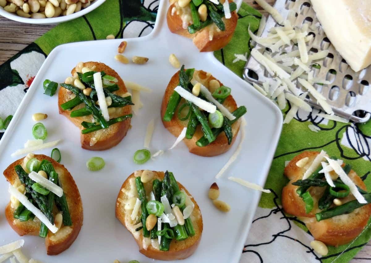 Roasted Asparagus and Parmesan Crostini - Appetizer