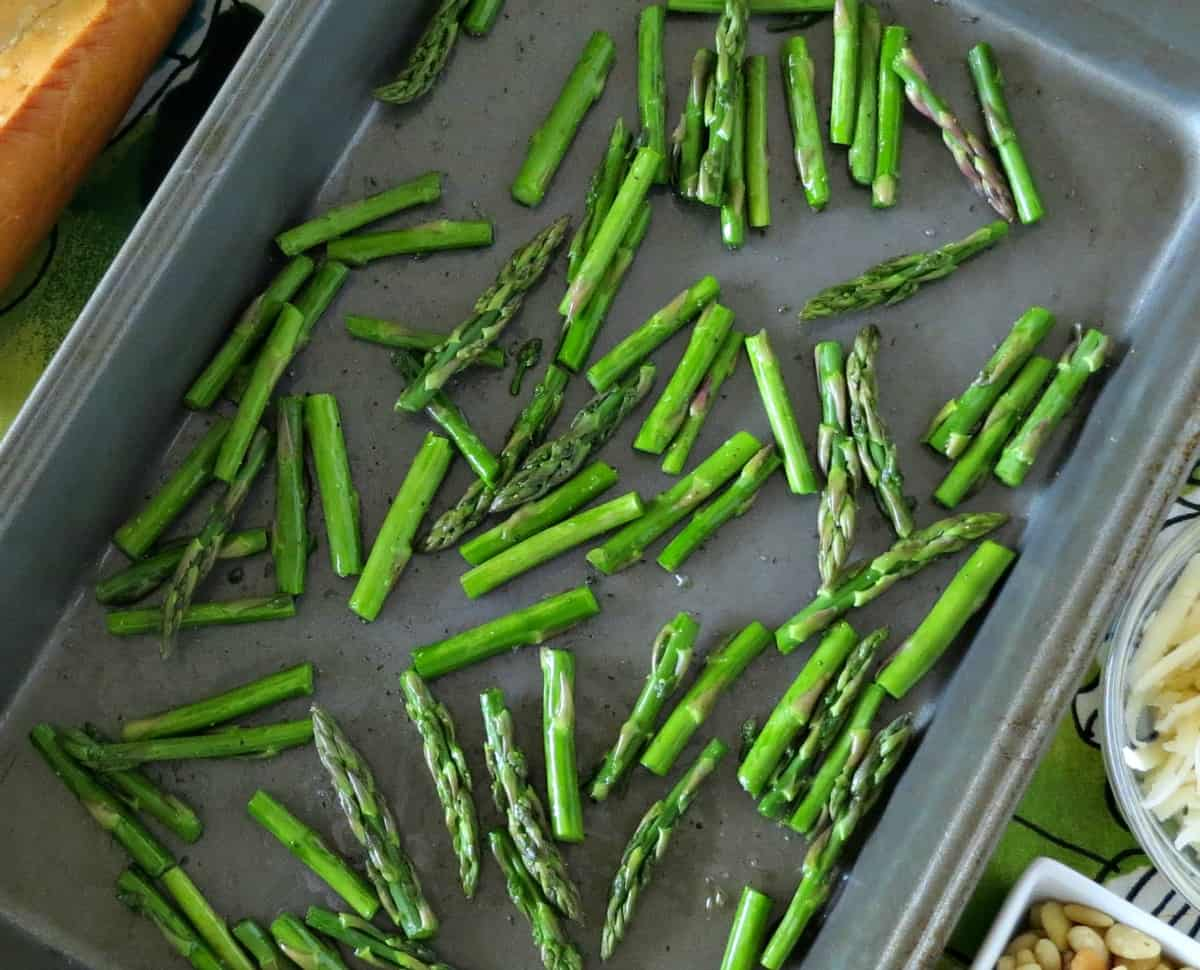 Preparing Roasted Asparagus and Parmesan Crostini