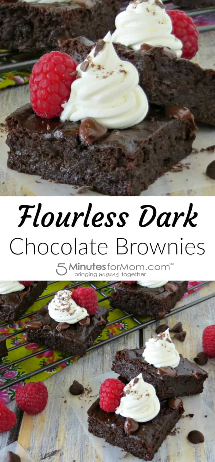 Flourless Dark Chocolate Brownies | These decadent brownies have a few unexpected ingredients. You'd never guess they are good for you!