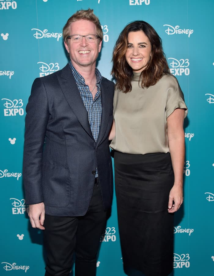 """ANAHEIM, CA - AUGUST 14: Director Andrew Stanton (L) and producer Lindsey Collins of FINDING DORY took part today in """"Pixar and Walt Disney Animation Studios: The Upcoming Films"""" presentation at Disney's D23 EXPO 2015 in Anaheim, Calif. (Photo by Alberto E. Rodriguez/Getty Images for Disney)"""