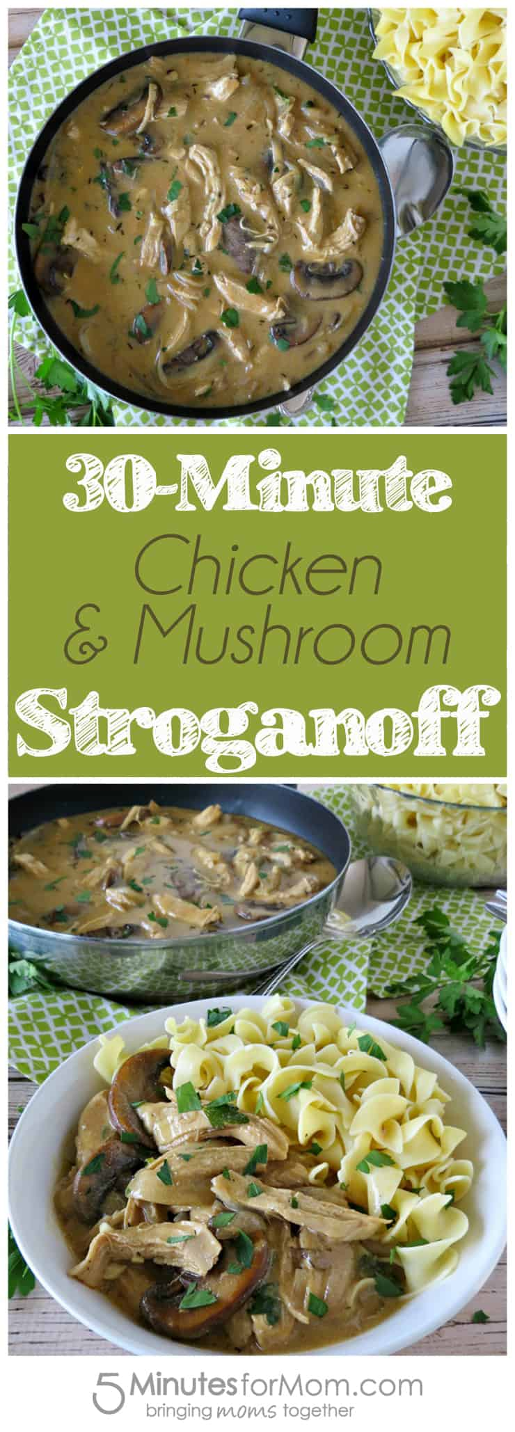 30 Minute Chicken and Mushroom Stroganoff - This stroganoff recipe comes together in about 30 minutes, but it tastes like it's been cooking all day! Pin