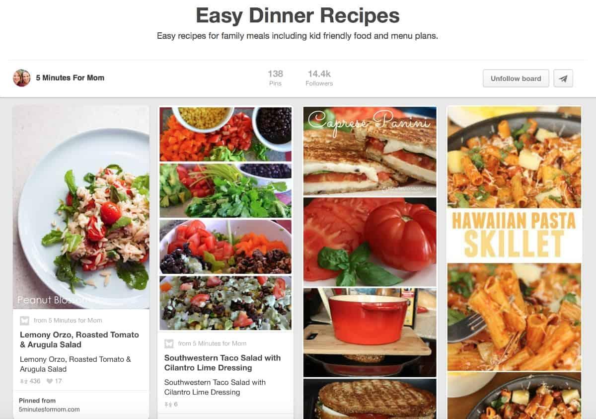 Easy Dinner Recipes Pinterest Board