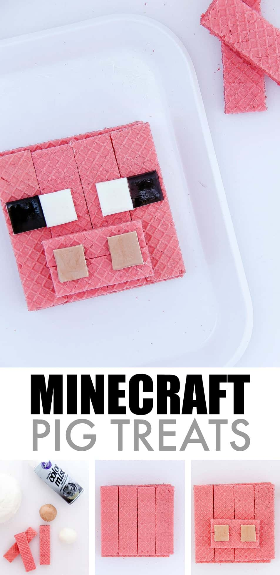 Easy Minecraft Pig treats to make for kids