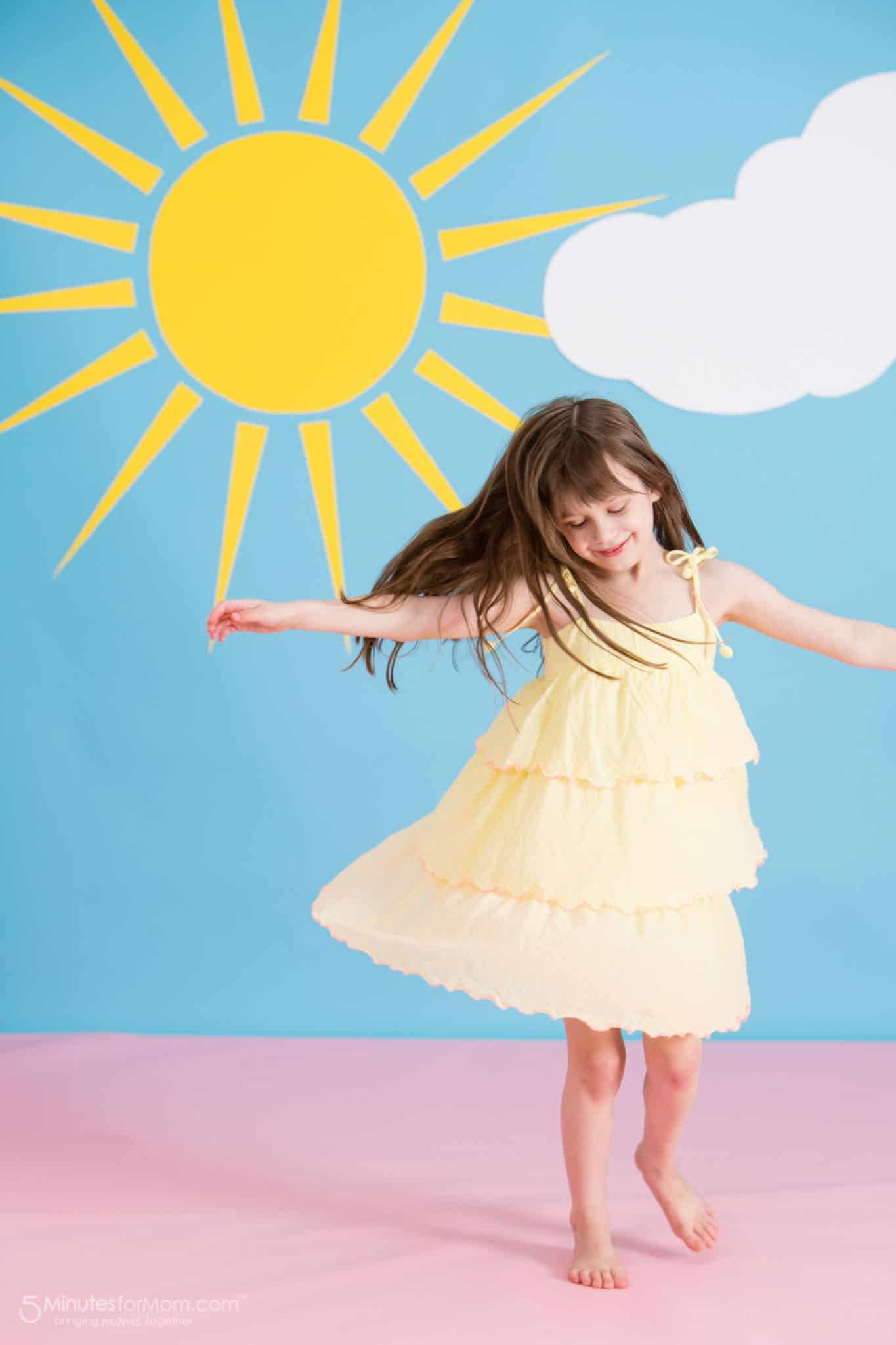 Sunuva Girls Yellow With Pink Frill Dress