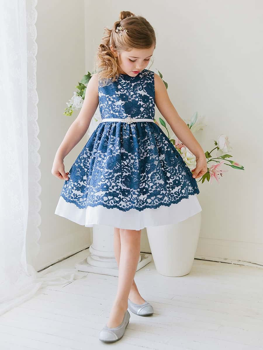 Navy Taffeta Dress with Flower Lace Overlay