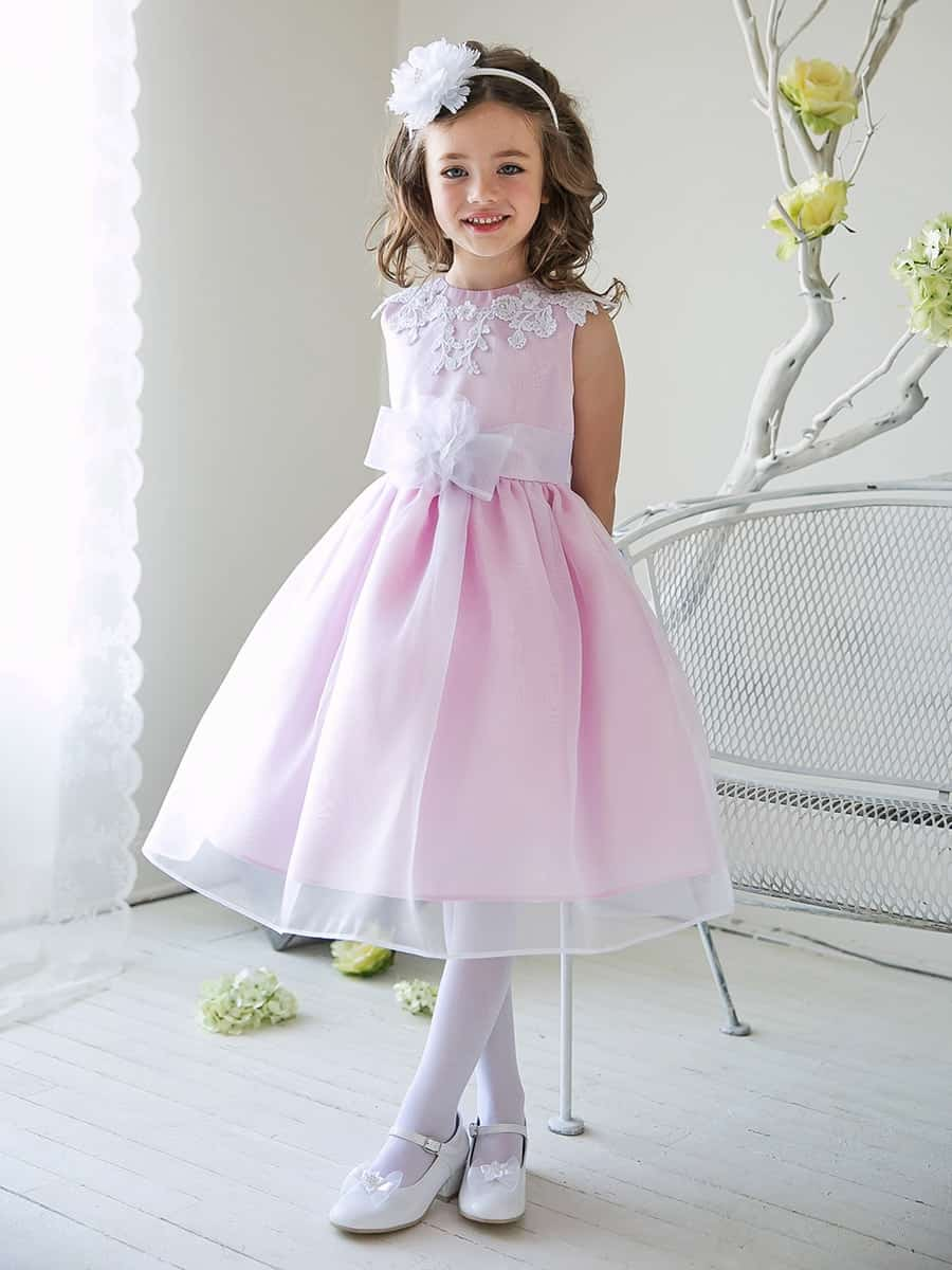 Pink Girls Organza Dress with Lace Bodice