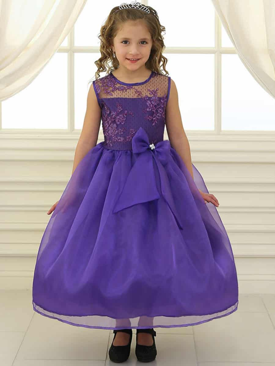 Purple Lace Flower Bodice Dress with Ribbon
