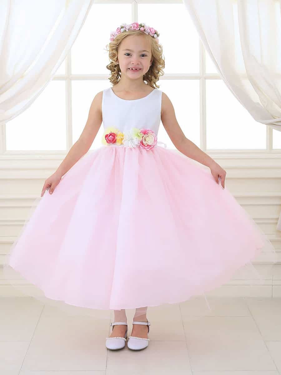 White & Pink Tulle Dress with Multi-Color Flower Waistband