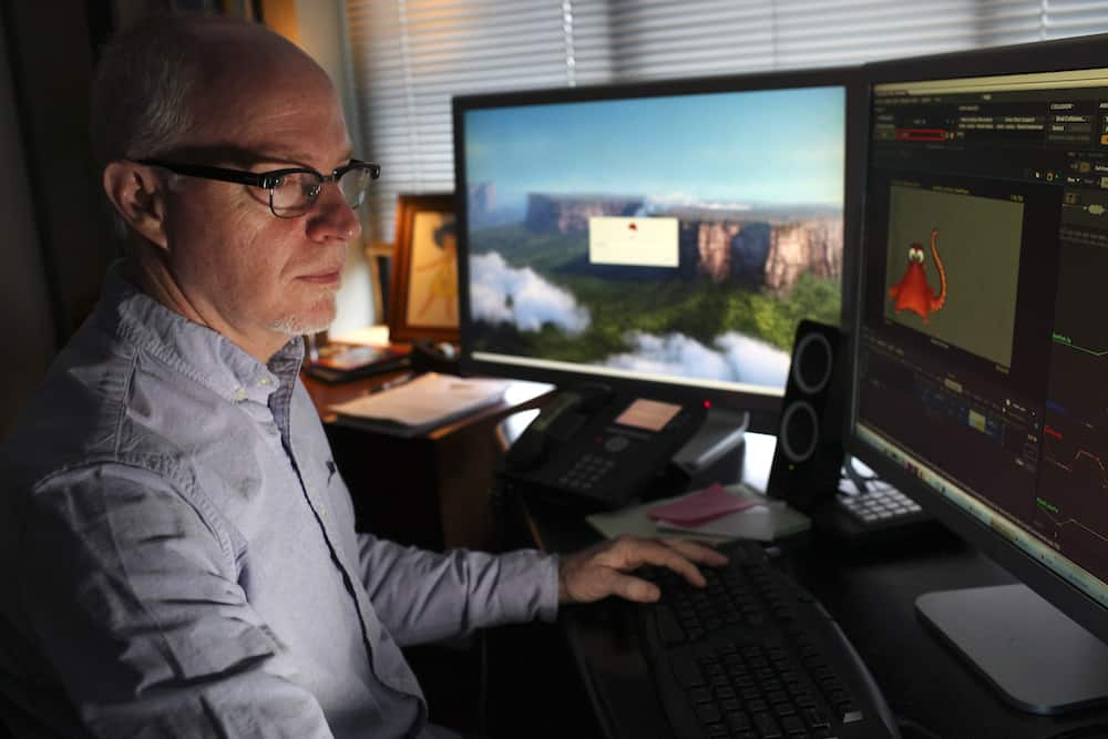 Michael Stocker is photographed working in his office on March 3, 2016 at Pixar Animation Studios in Emeryville, Calif. (Photo by Deborah Coleman / Pixar)