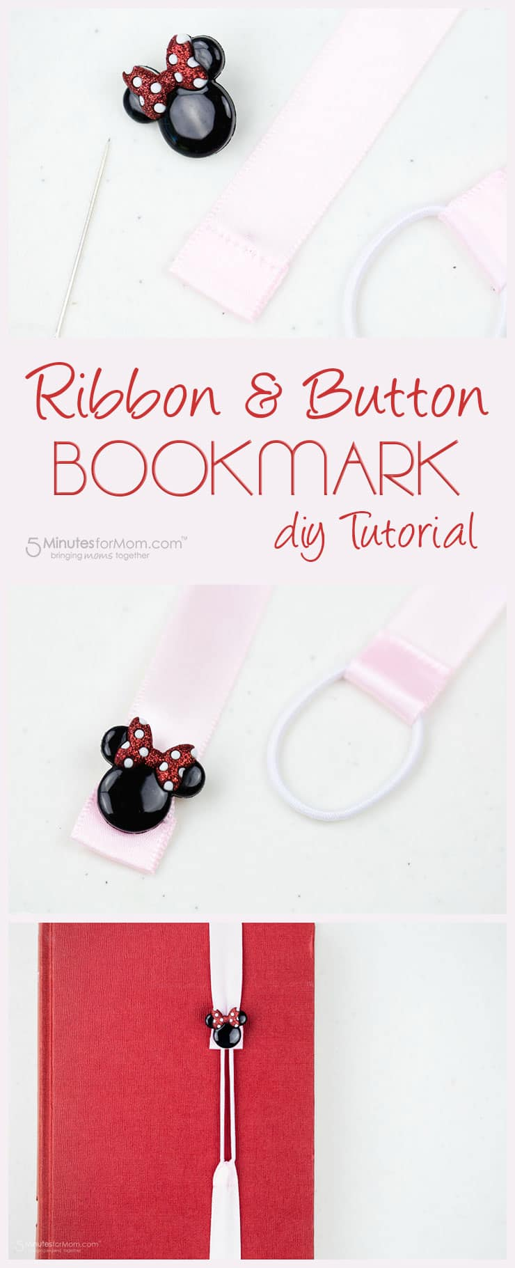 Ribbon and button bookmark DIY tutorial