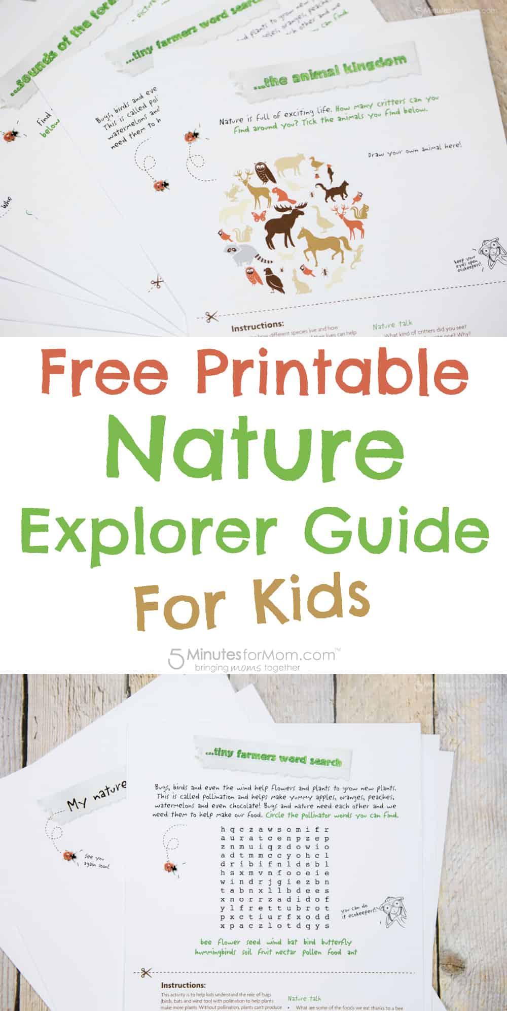 Free printable nature explorer guide for kids