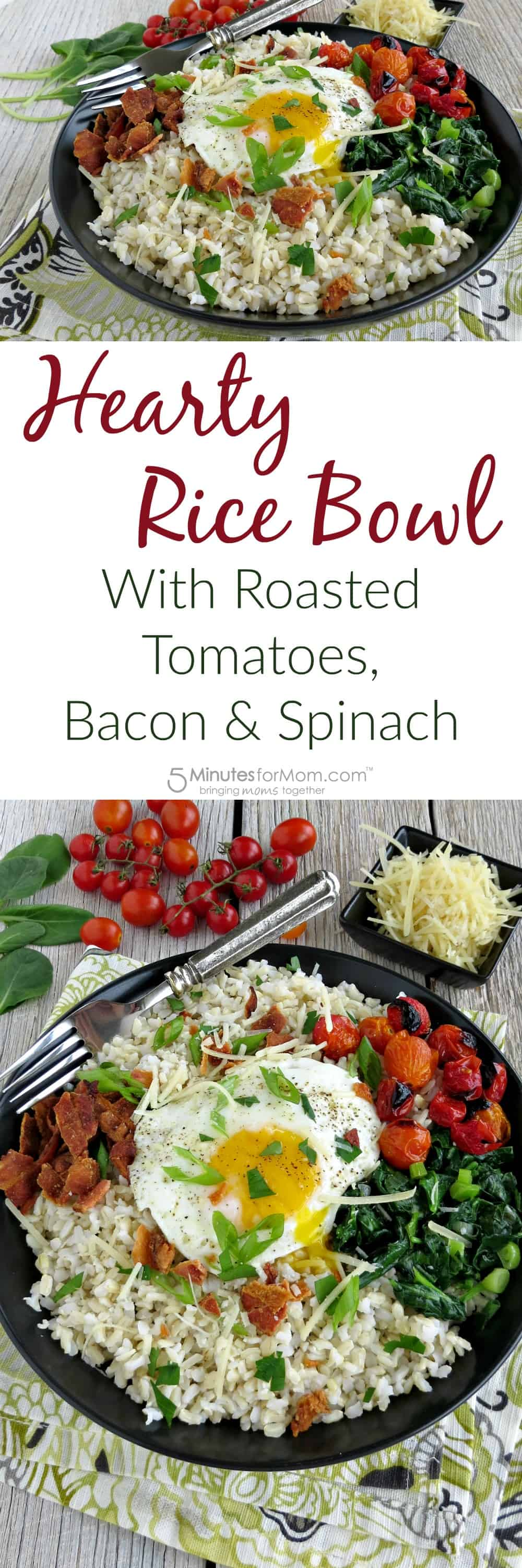 Hearty Rice Bowl with Roasted Tomatoes, Bacon and Spinach Recipe