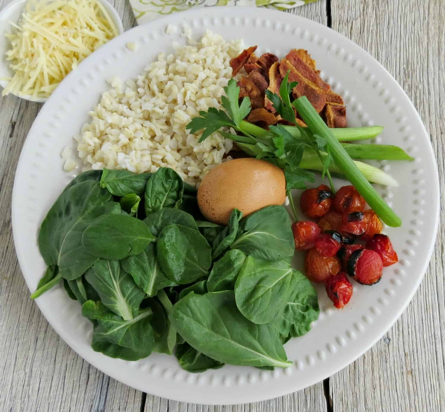 Ingredients for Hearty Rice Bowl with Roasted Tomatoes, Bacon and Spinach Recipe