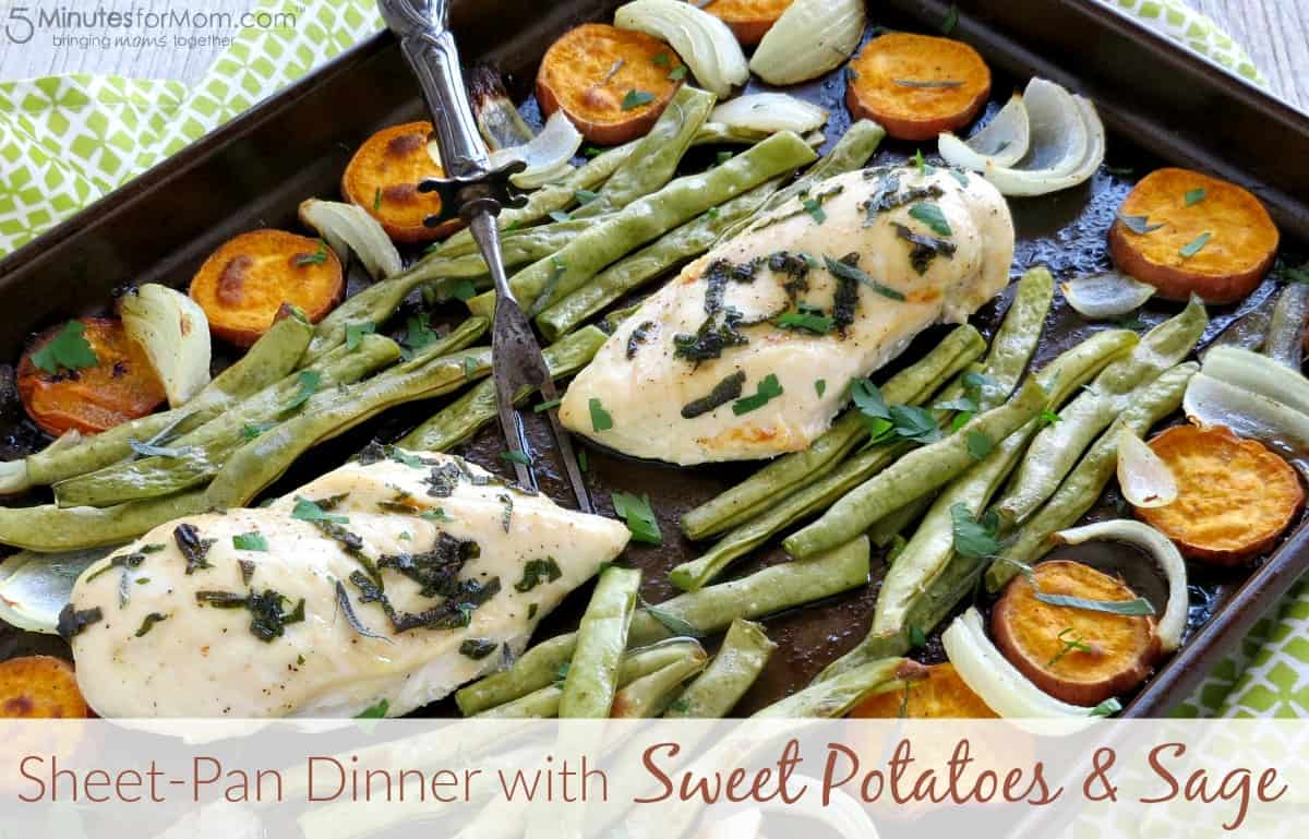 Sheet-Pan Dinner with Sweet Potatoes and Sage