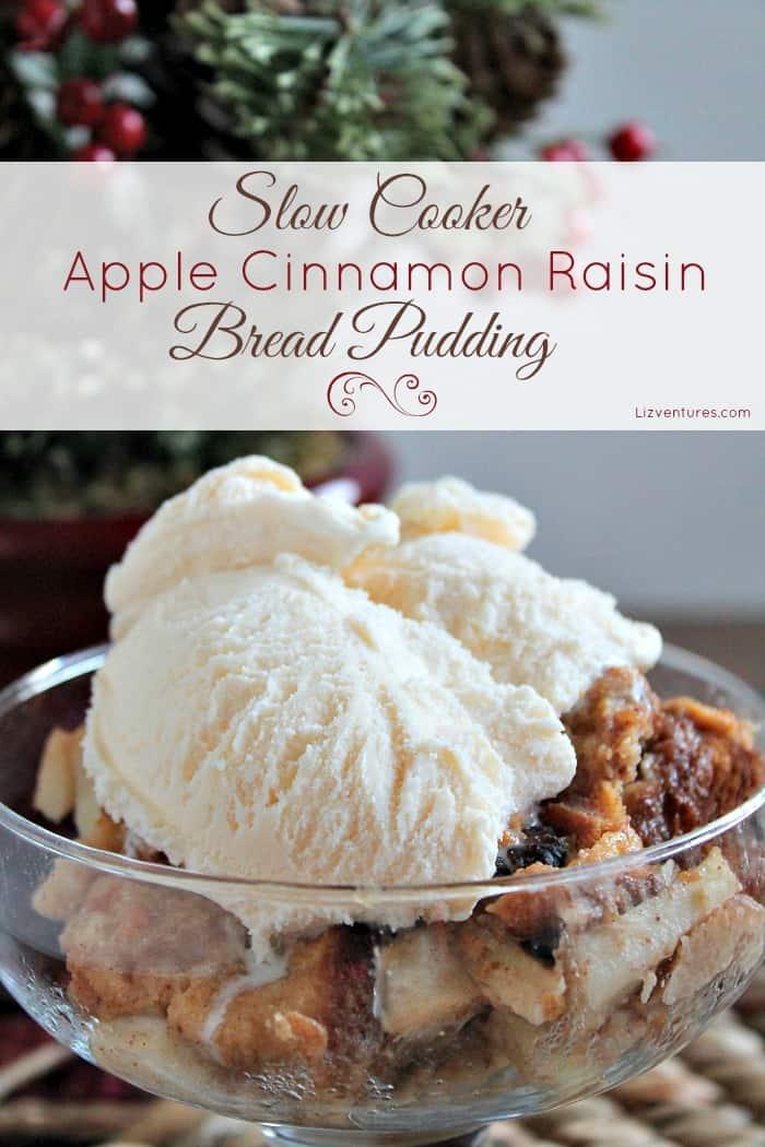 Slow-cooker apple cinnamon raisin bread pudding
