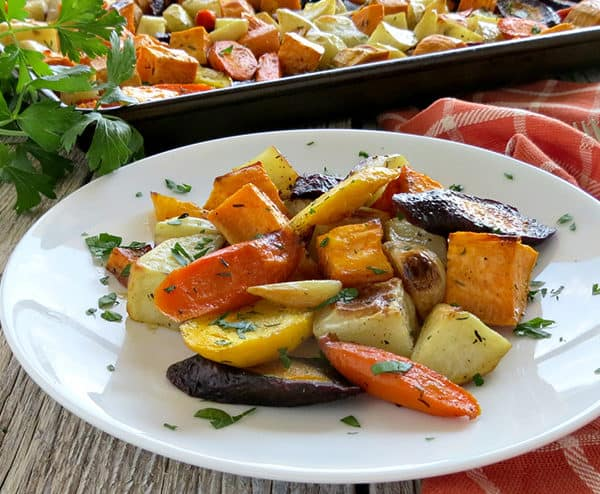 Oven Roasted Fall Vegetables with Garlic and Thyme – Side Dish Recipe