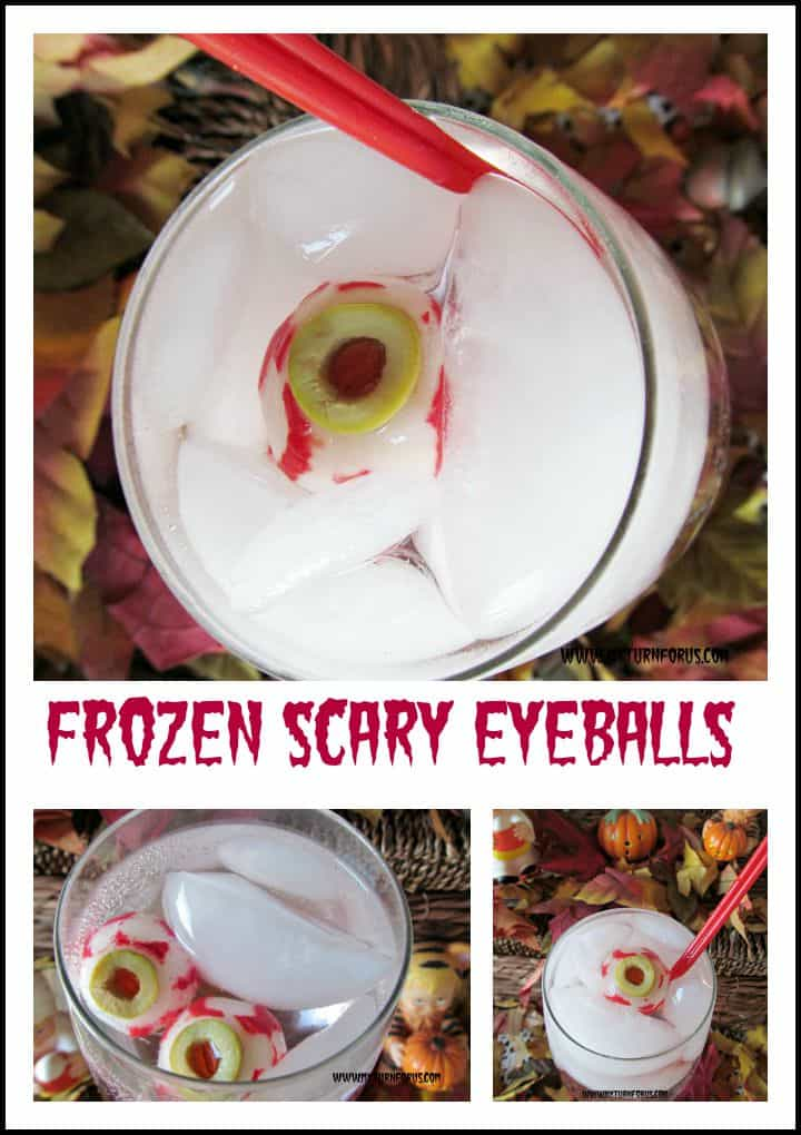 Frozen scary eyeballs cocktail