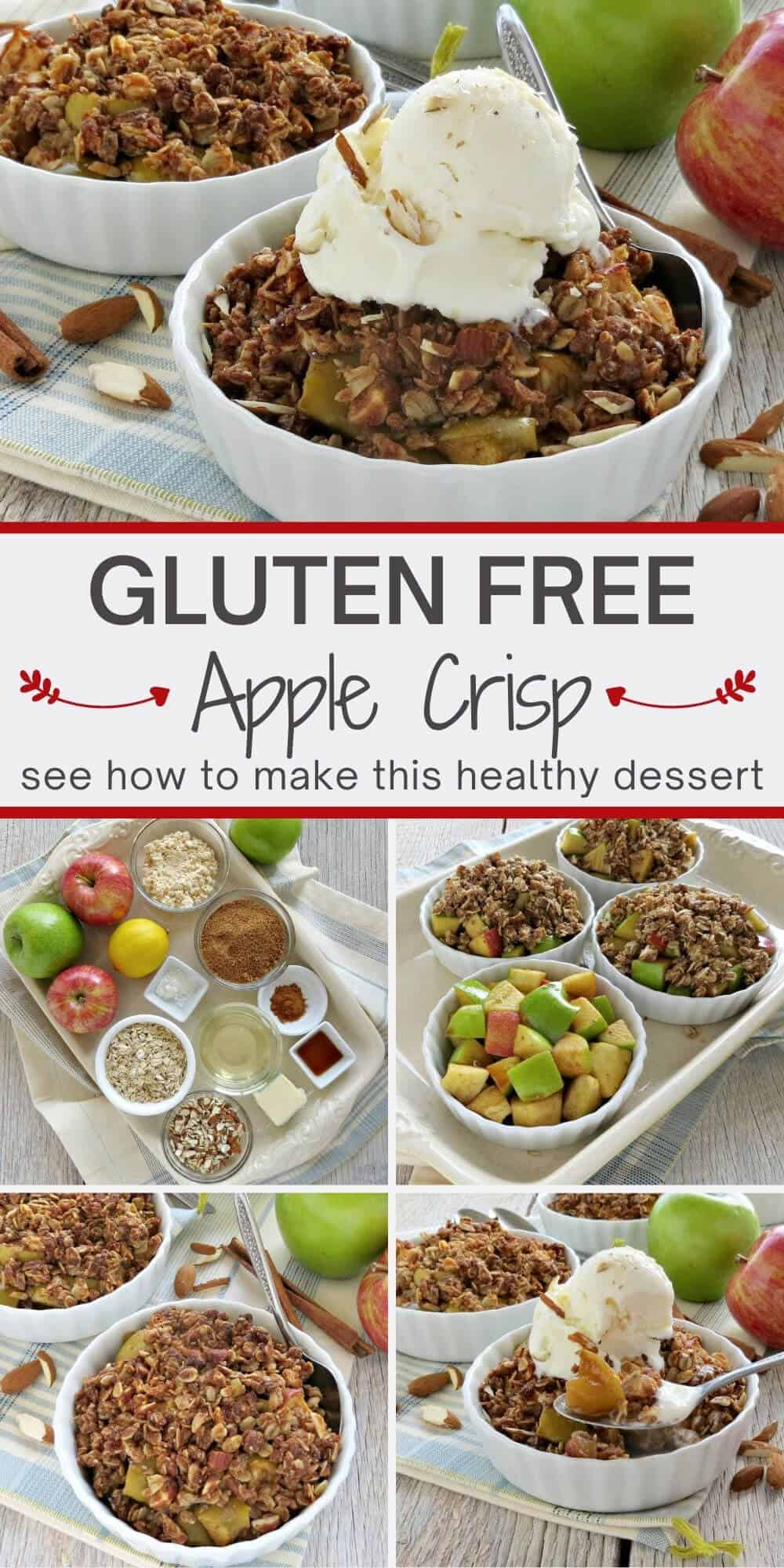 Collage of Photos showing how to make Gluten Free Apple Crisp
