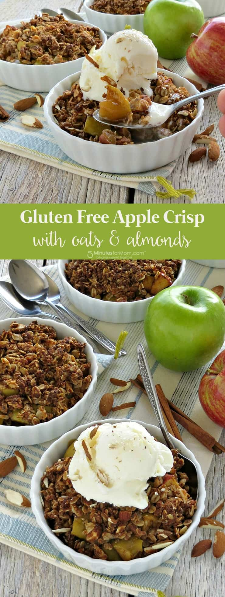 Gluten free apple crisp with oats and almonds recipe