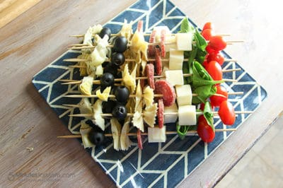 Antipasto Skewers Recipe. A delicious appetizer recipe that is great for get together or grey cup parties!