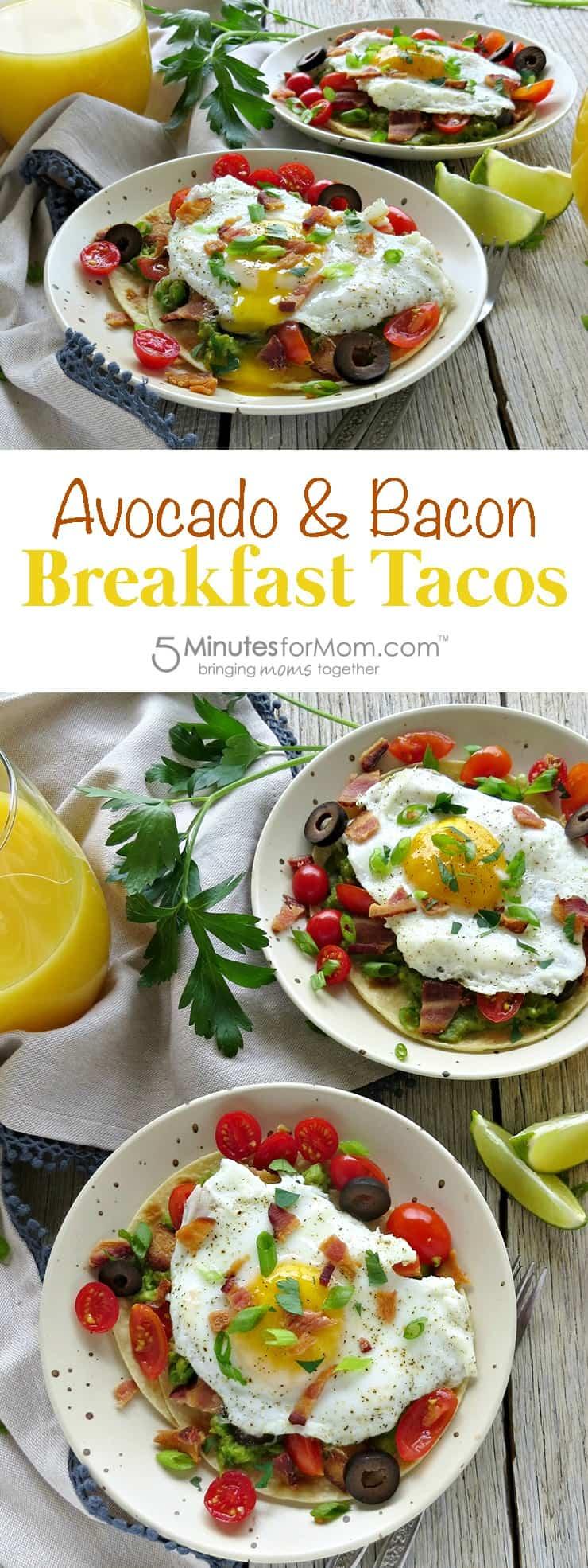 Avocado bacon breakfast tacos