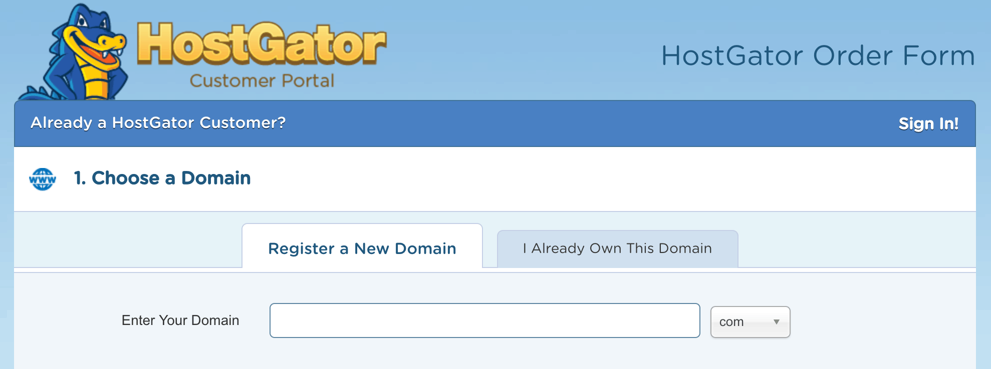 HostGator Step 1