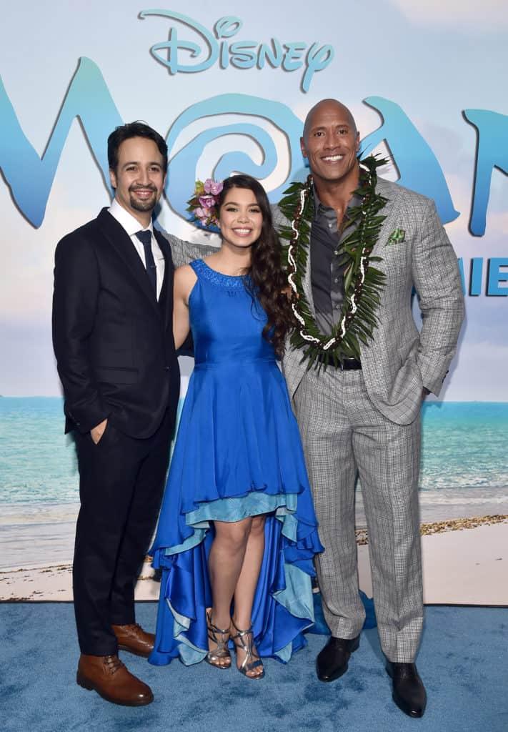"Auli'i Cravalho; Dwayne Johnson; Lin-Manuel Miranda at the World Premiere of Disney's ""MOANA"""