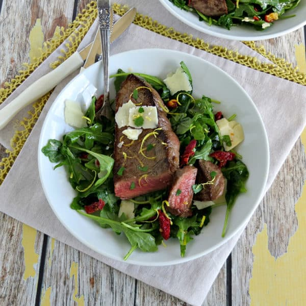 Steak & Arugula Salad with Sun-Dried Tomato & Lemon Dressing Recipe