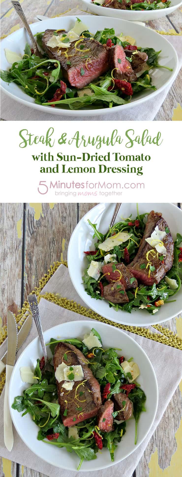 Steak & Arugula Salad with Sun-Dried Tomato & Lemon Dressing