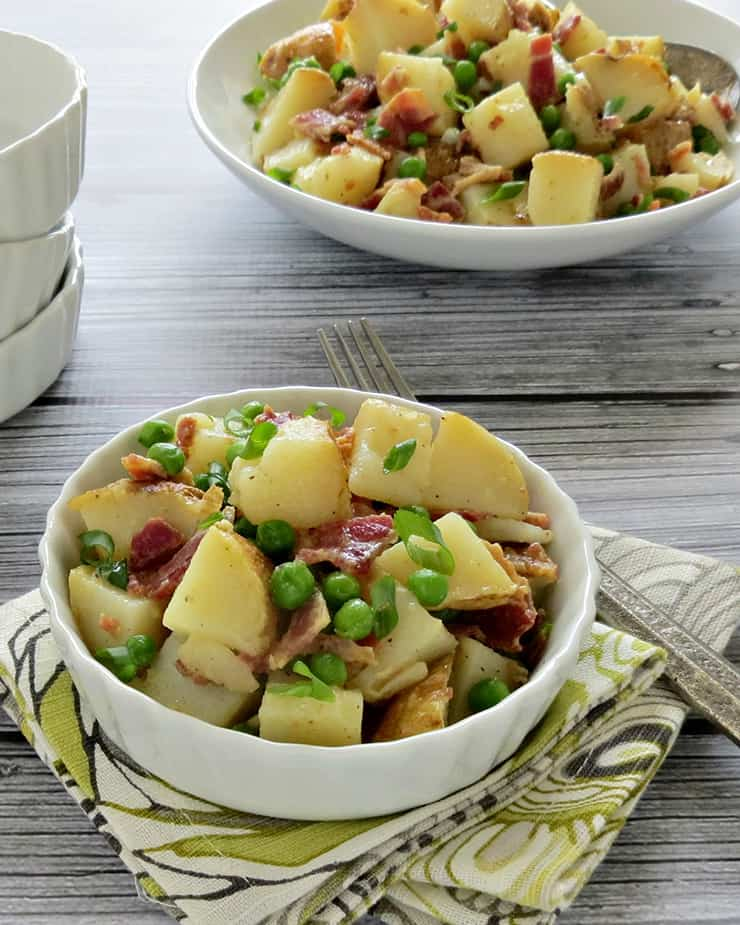 Baked Potato Salad with Peas and Bacon Recipe