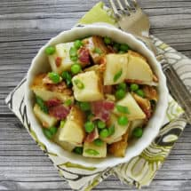 Baked Potato Salad with Peas and Bacon