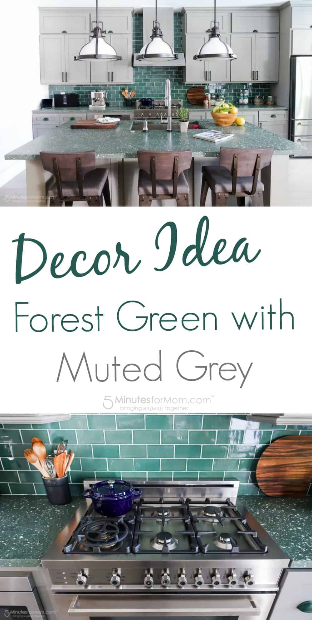 Decor Idea - Forest Green with Muted Grey Kitchen