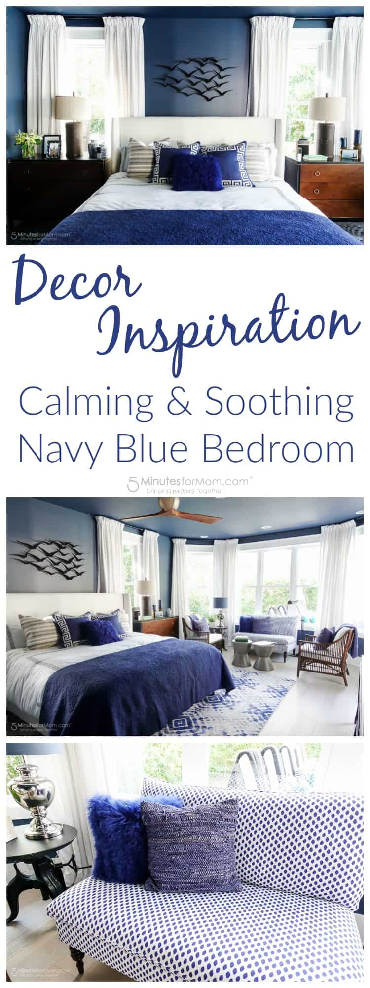 Decor Inspiration - Calming and Soothing Navy Blue Bedroom