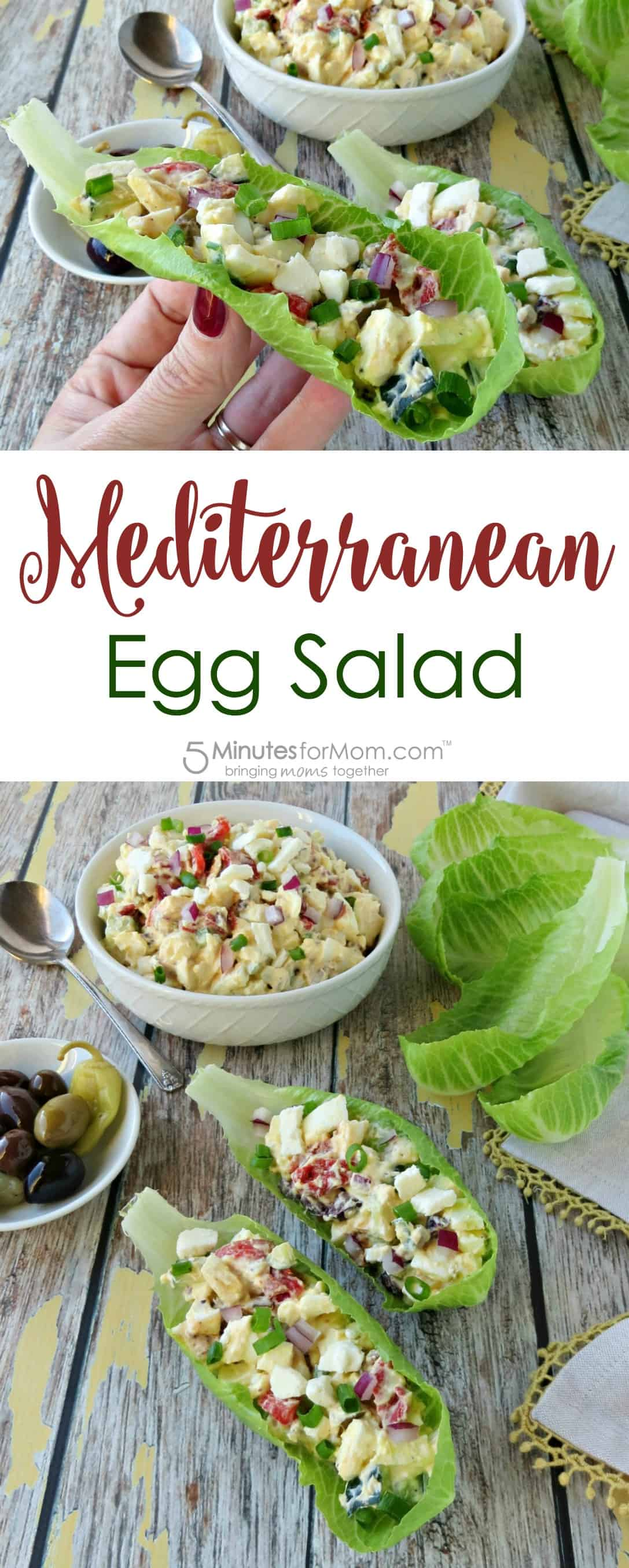 Mediterranean Egg Salad in Lettuce Wraps Recipe