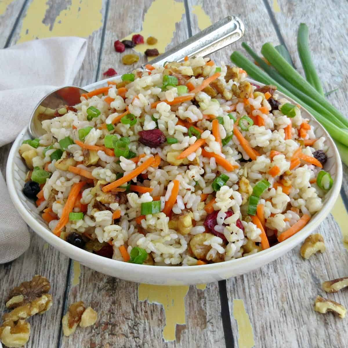 Sweet and Savory Rice Salad with Cranberries Walnuts