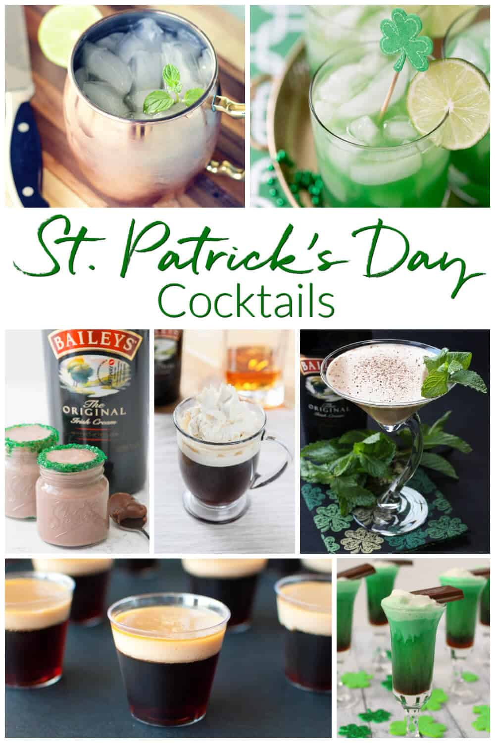 Collection of St Patrick's Day cocktails